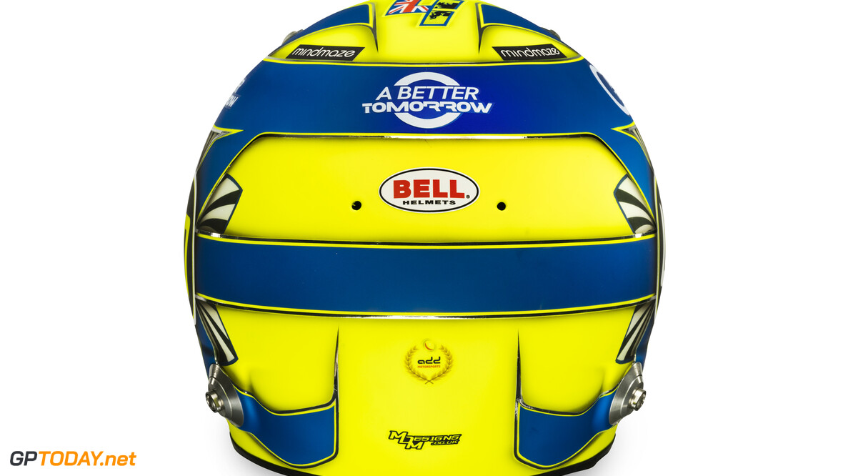 Lando Norris 2020 helmet_rear view  Malcolm Griffiths    Lando Norris 4 helmet race mcl35 partners BAT Huski Estrella Galicia LN A Better Tomorrow McLaren yellow blue bell