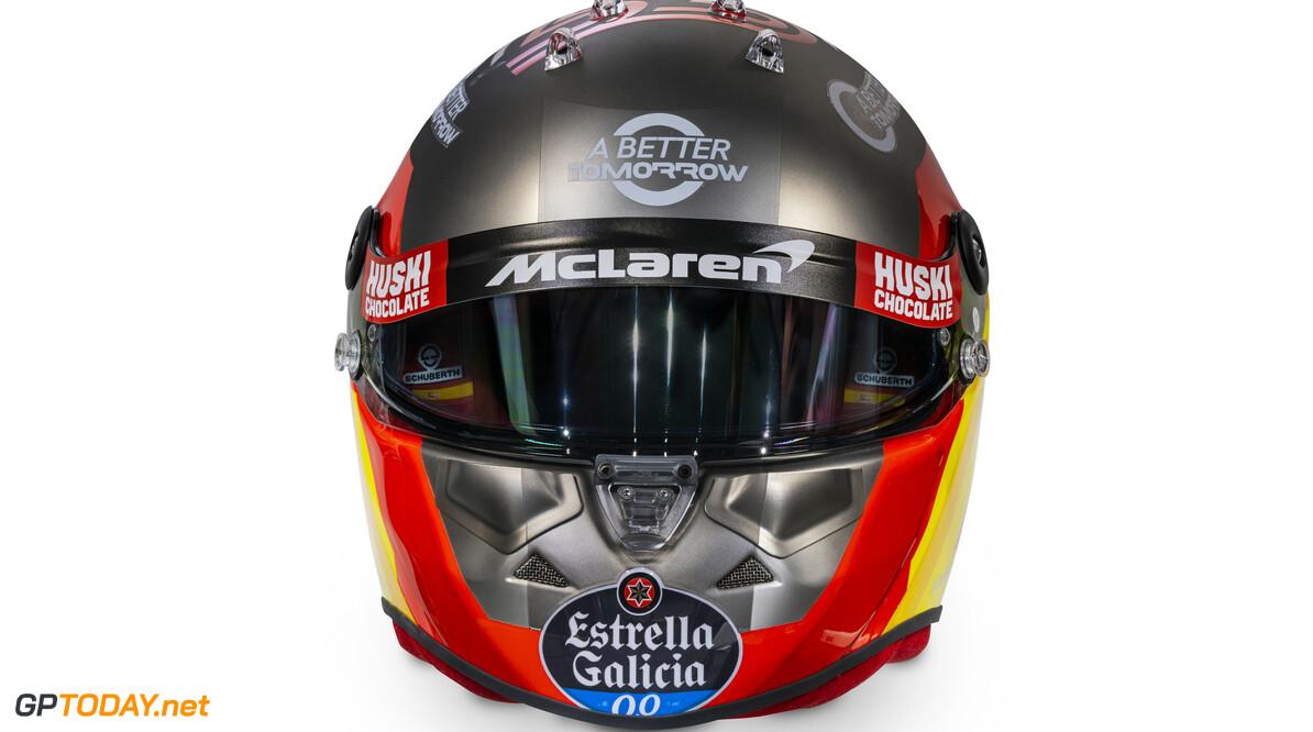 Carlos Sainz 2020 helmet_front view  Malcolm Griffiths    Carlos Sainz 55 helmet race mcl35 partners BAT Huski Estrella Galicia LN A Better Tomorrow McLaren yellow red