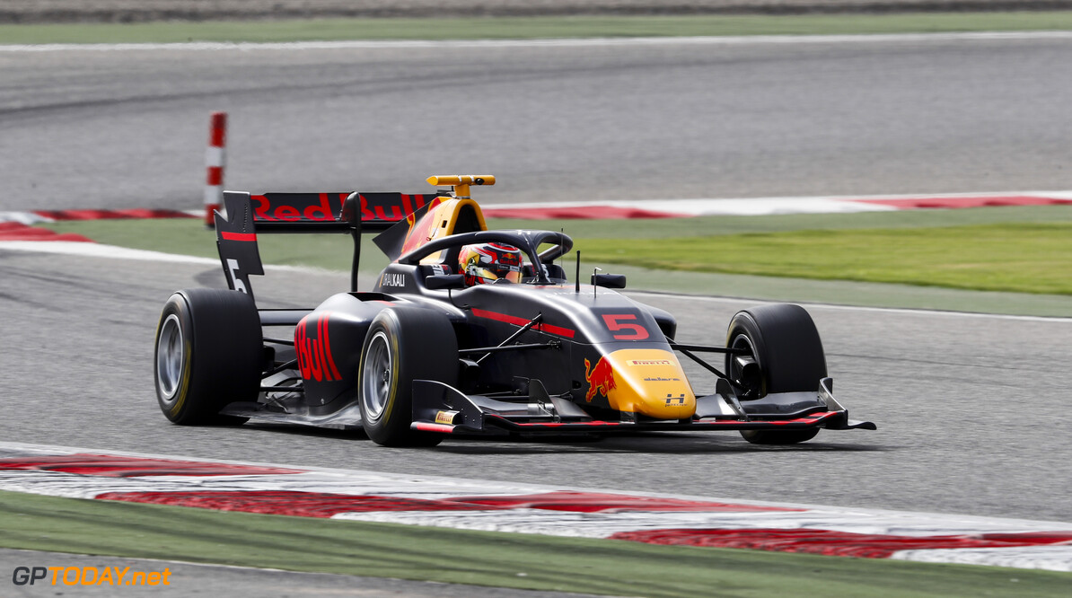 FIA Formula 3 BAHRAIN INTERNATIONAL CIRCUIT, BAHRAIN - MARCH 01: Liam Lawson (NZL, HITECH GRAND PRIX) during the Test 1 - Bahrain at Bahrain International Circuit on March 01, 2020 in Bahrain International Circuit, Bahrain. (Photo by Carl Bingham / LAT Images / FIA F3 Championship) FIA Formula 3 Carl Bingham  Bahrain  action
