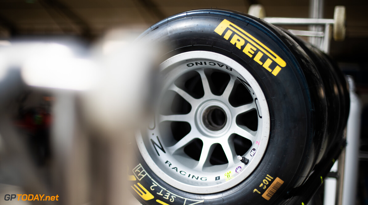 FIA Formula 3 BAHRAIN INTERNATIONAL CIRCUIT, BAHRAIN - MARCH 01: Pirelli tyres in the pit lane during the Test 1 - Bahrain at Bahrain International Circuit on March 01, 2020 in Bahrain International Circuit, Bahrain. (Photo by Joe Portlock / LAT Images / FIA F3 Championship) FIA Formula 3 Joe Portlock  Bahrain  FIA Formula 3 Portraits Sunday
