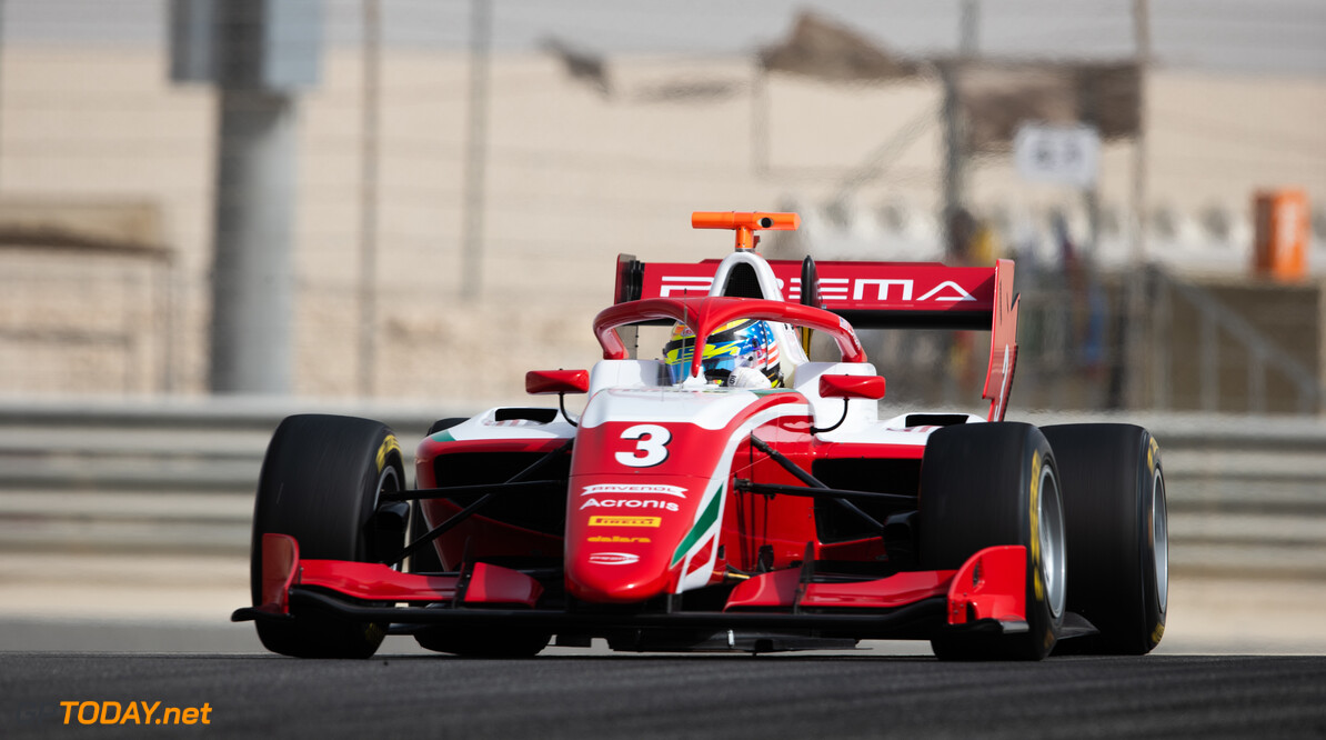 FIA Formula 3 BAHRAIN INTERNATIONAL CIRCUIT, BAHRAIN - MARCH 02: Logan Sargeant (USA, PREMA RACING) during the Test 1 - Bahrain at Bahrain International Circuit on March 02, 2020 in Bahrain International Circuit, Bahrain. (Photo by Joe Portlock / LAT Images / FIA F3 Championship) FIA Formula 3 Joe Portlock  Bahrain  FIA Formula 3 action Monday