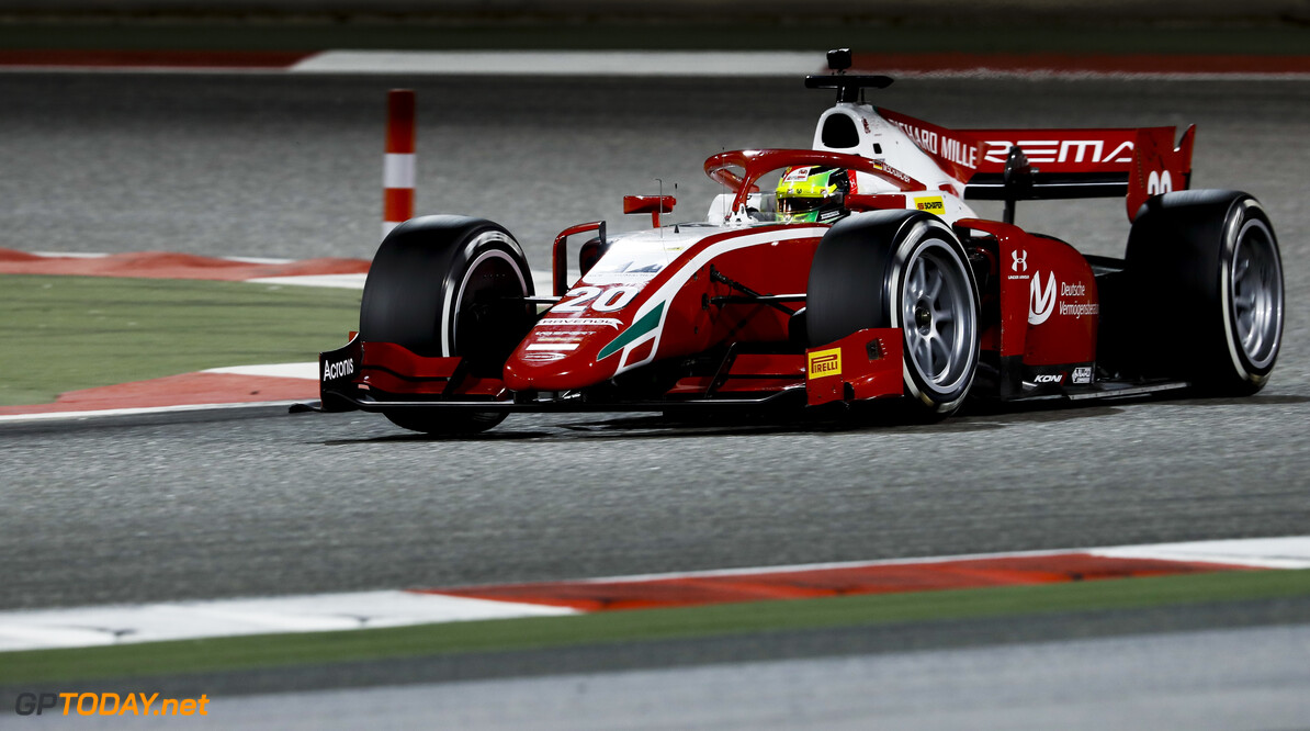 FIA Formula 2 BAHRAIN INTERNATIONAL CIRCUIT, BAHRAIN - MARCH 02: Mick Schumacher (DEU, PREMA RACING) during the Test 1 - Bahrain at Bahrain International Circuit on March 02, 2020 in Bahrain International Circuit, Bahrain. (Photo by Carl Bingham / LAT Images / FIA F2 Championship) FIA Formula 2 Carl Bingham  Bahrain  action