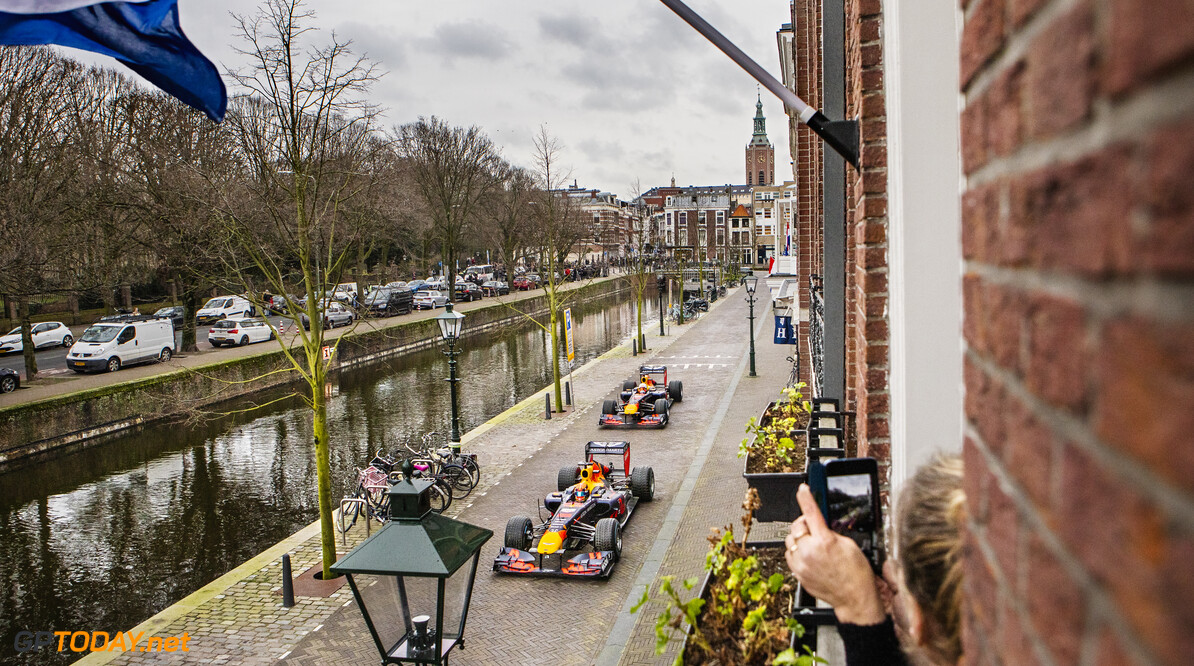 Max Verstappen and Alexander Albon perform during The Dutch Road Trip in The Hague, Netherlands on January 27, 2020 // Rutger Pauw / Red Bull Content Pool // AP-23Q7EW7CS1W11 // Usage for editorial use only //  Max Verstappen and Alexander Albon     AP-23Q7EW7CS1W11