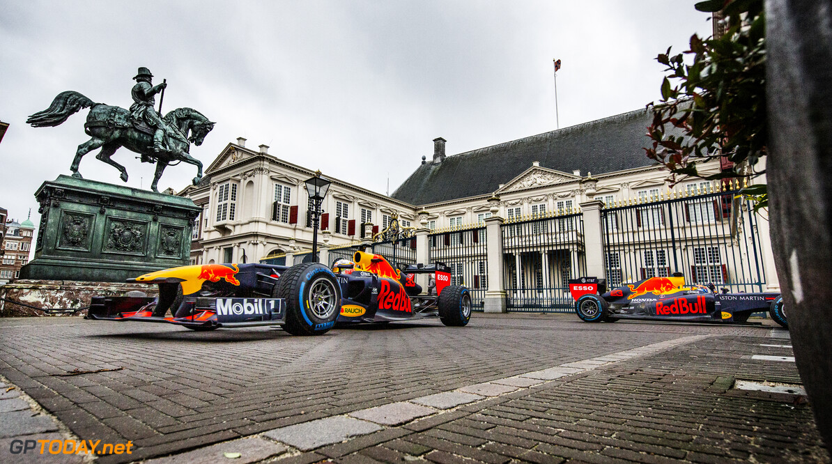 Max Verstappen and Alexander Albon perform during The Dutch Road Trip at Noordeinde palace in The Hague, Netherlands on January 27, 2020 // Rutger Pauw / Red Bull Content Pool // AP-23Q7FCPDW2111 // Usage for editorial use only //  Max Verstappen and Alexander Albon     AP-23Q7FCPDW2111