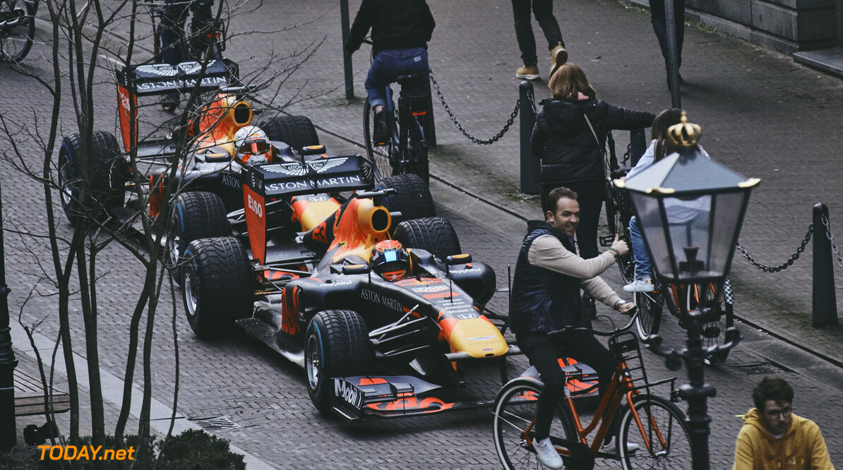 Max Verstappen and Alexander Albon perform during The Dutch Road Trip in The Hague, Netherlands on January 27, 2020 // Rob Smalley / Red Bull Content Pool // AP-23W2NCSHD1W11 // Usage for editorial use only //  Max Verstappen and Alexander Albon     AP-23W2NCSHD1W11