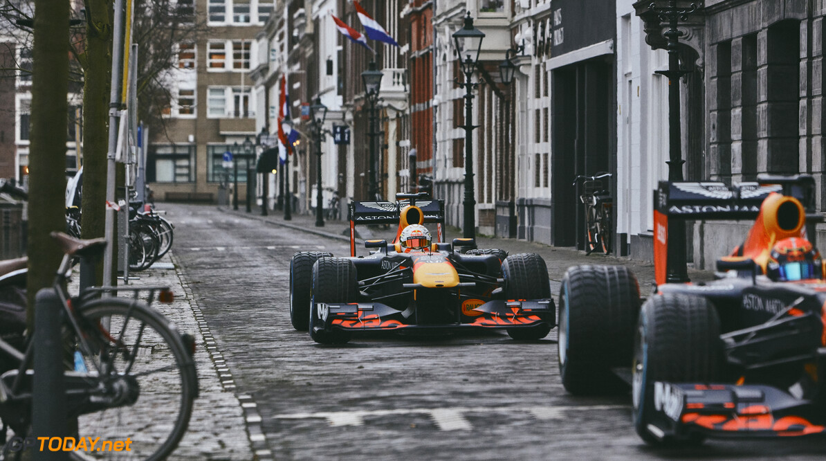 Max Verstappen and Alexander Albon perform during The Dutch Road Trip in The Hague, Netherlands on January 27, 2020 // Rob Smalley / Red Bull Content Pool // AP-23W2NCS4D1W11 // Usage for editorial use only //  Max Verstappen and Alexander Albon     AP-23W2NCS4D1W11