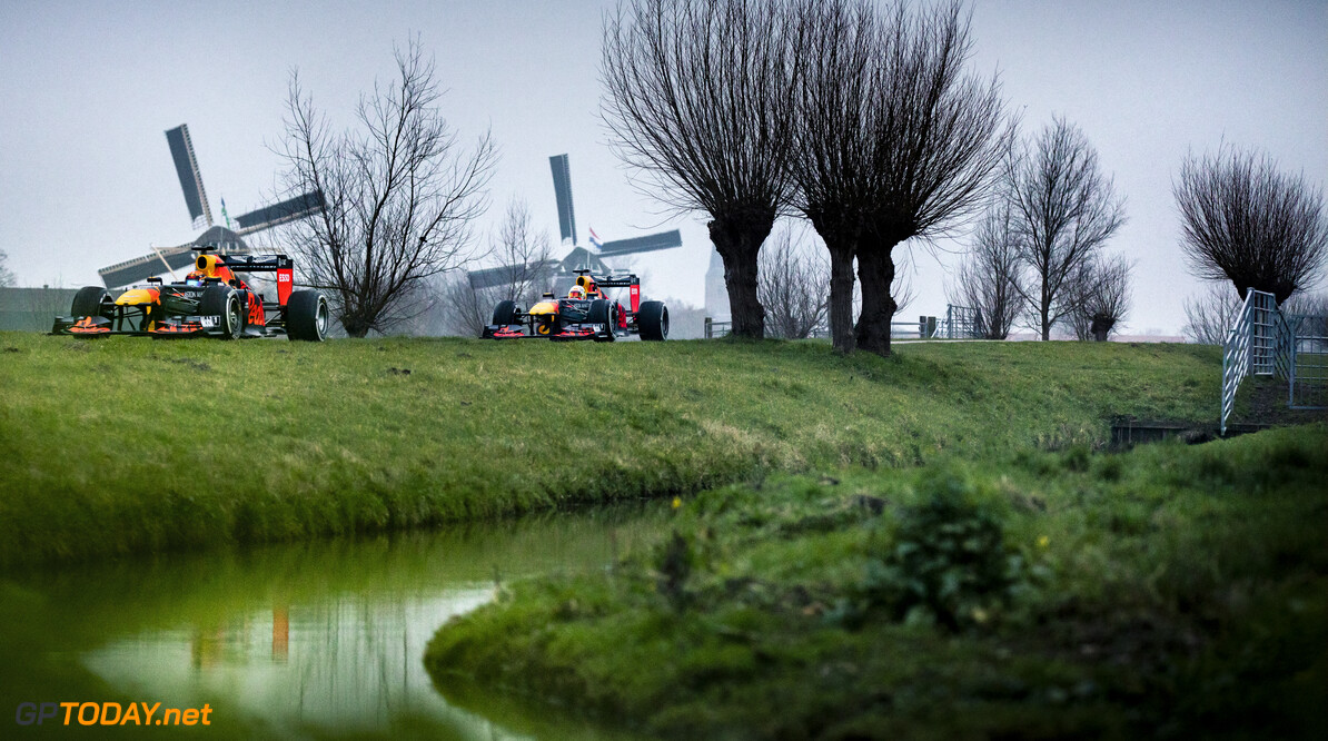 Max Verstappen and Alexander Albon perform during The Dutch Road Trip in Maasland, Netherlands on January 25, 2020 // Rutger Pauw / Red Bull Content Pool // AP-23Q7F84252111 // Usage for editorial use only //  Max Verstappen and Alexander Albon     AP-23Q7F84252111