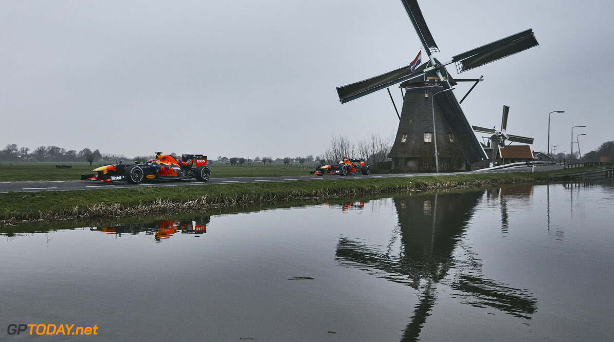 Max Verstappen and Alexander Albon perform during The Dutch Road Trip in Maasland, Netherlands on January 25, 2020 // Rob Smalley / Red Bull Content Pool // AP-23W2NCTB51W11 // Usage for editorial use only //  Max Verstappen and Alexander Albon     AP-23W2NCTB51W11