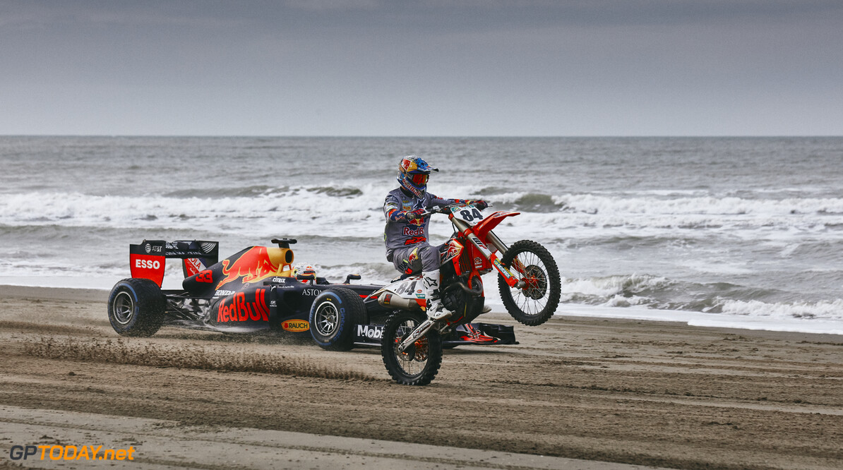 Max Verstappen and Jeffrey Herlings perform during The Dutch Road Trip at Scheveningen beach in The Hague, Netherlands on January 27, 2020 // Rob Smalley / Red Bull Content Pool // AP-23W2NCSWD2111 // Usage for editorial use only //  Max Verstappen and Jeffrey Herlings     AP-23W2NCSWD2111