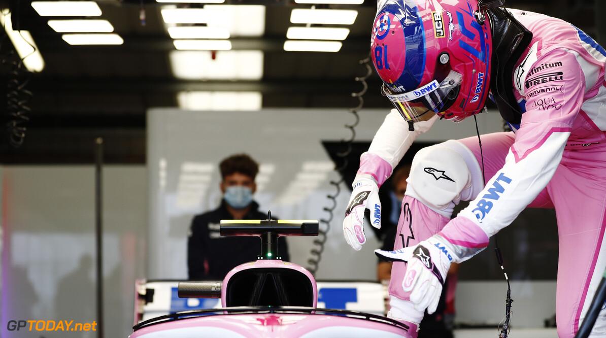 Lance Stroll, Racing Point RP20  Glenn Dunbar Silverstone UK  garage cockpit helmet TS-Live