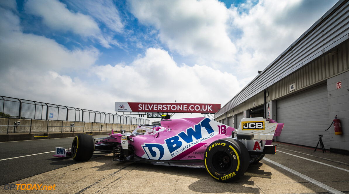 Lance Stroll, Racing Point RP20, leaves the garage  Glenn Dunbar Silverstone UK  action TS-Live