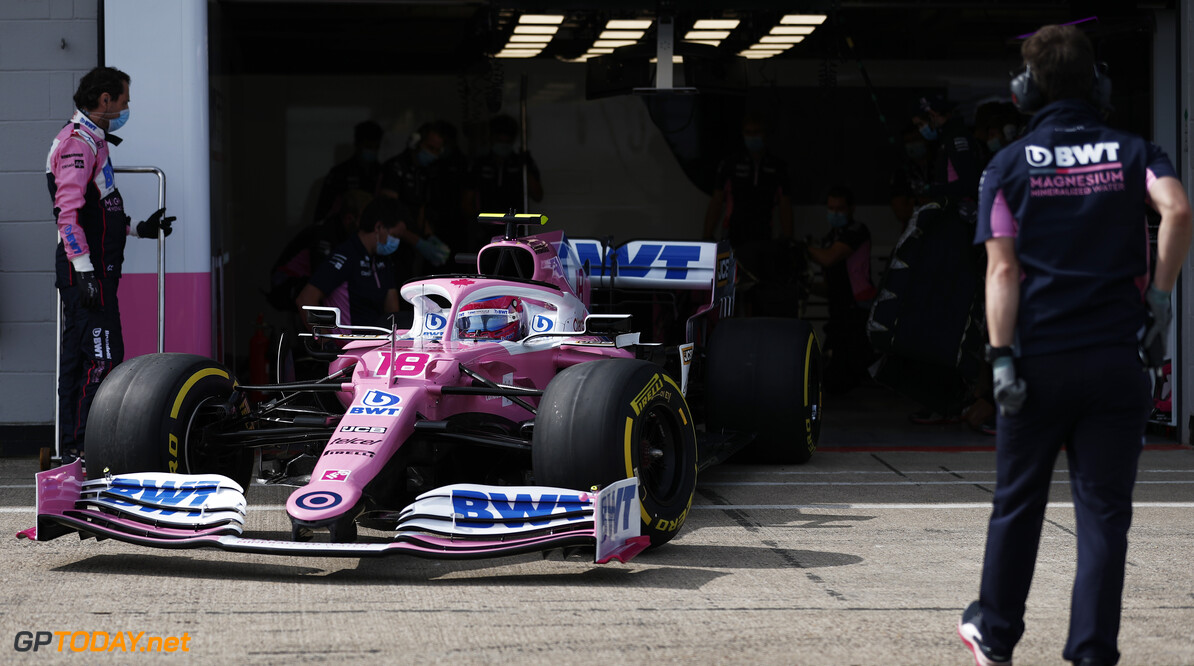 Lance Stroll, Racing Point RP20, leaves the garage  Glenn Dunbar Silverstone UK  action garage TS-Live
