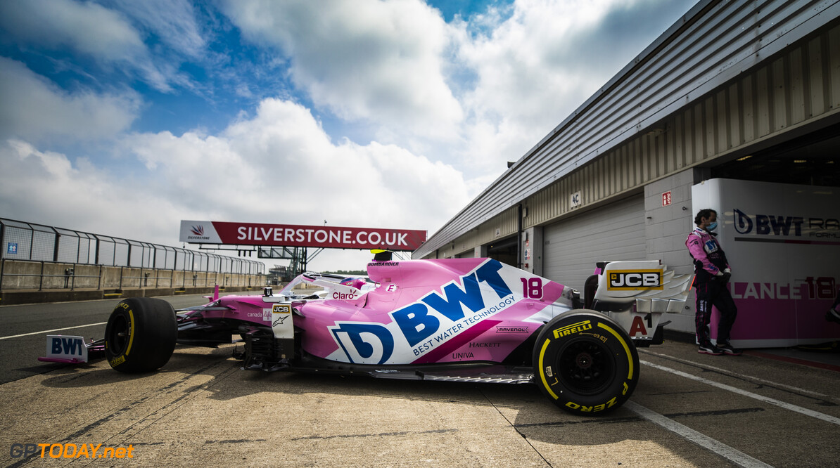 Lance Stroll, Racing Point RP20, leaves the garage  Glenn Dunbar Silverstone UK  action