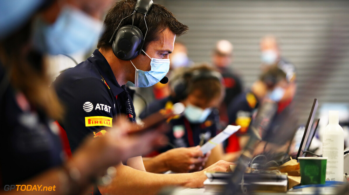 NORTHAMPTON, ENGLAND - JUNE 25: Phil Turner of Red Bull Racing works in the garage during the Red Bull Racing RB16 Filming Day at Silverstone Circuit on June 25, 2020 in Northampton, England. (Photo by Mark Thompson/Getty Images) // Getty Images / Red Bull Content Pool  // AP-24EDTMSS12111 // Usage for editorial use only //  Red Bull Racing RB16 Filming Day     AP-24EDTMSS12111