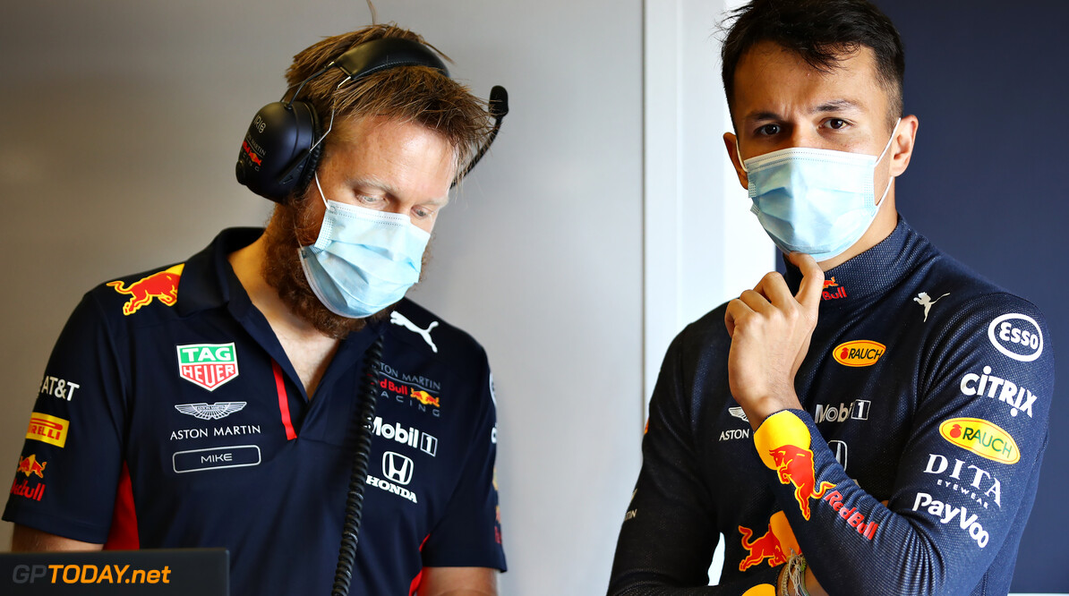 NORTHAMPTON, ENGLAND - JUNE 25: Alexander Albon of Thailand and Red Bull Racing talks with race engineer Mike Lugg in the garage during the Red Bull Racing RB16 Filming Day at Silverstone Circuit on June 25, 2020 in Northampton, England. (Photo by Mark Thompson/Getty Images) // Getty Images / Red Bull Content Pool  // AP-24EDTN8WN2111 // Usage for editorial use only //  Red Bull Racing RB16 Filming Day     AP-24EDTN8WN2111