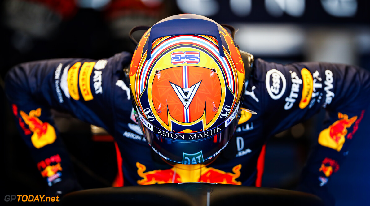 NORTHAMPTON, ENGLAND - JUNE 25: Alexander Albon of Thailand and Red Bull Racing prepares to drive in the garage during the Red Bull Racing RB16 Filming Day at Silverstone Circuit on June 25, 2020 in Northampton, England. (Photo by Mark Thompson/Getty Images) // Getty Images / Red Bull Content Pool  // AP-24EECXN7N1W11 // Usage for editorial use only //  Red Bull Racing RB16 Filming Day     AP-24EECXN7N1W11