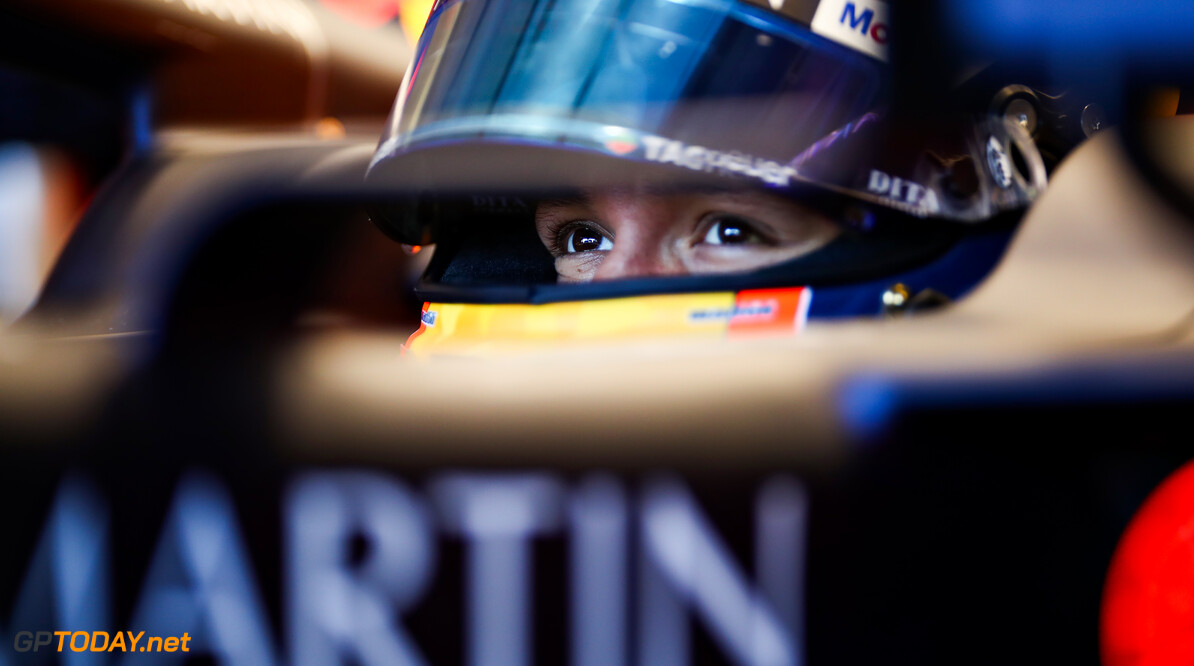 NORTHAMPTON, ENGLAND - JUNE 25: Alexander Albon of Thailand and Red Bull Racing prepares to drive in the garage during the Red Bull Racing RB16 Filming Day at Silverstone Circuit on June 25, 2020 in Northampton, England. (Photo by Mark Thompson/Getty Images) // Getty Images / Red Bull Content Pool  // AP-24EECUT311W11 // Usage for editorial use only //  Red Bull Racing RB16 Filming Day     AP-24EECUT311W11