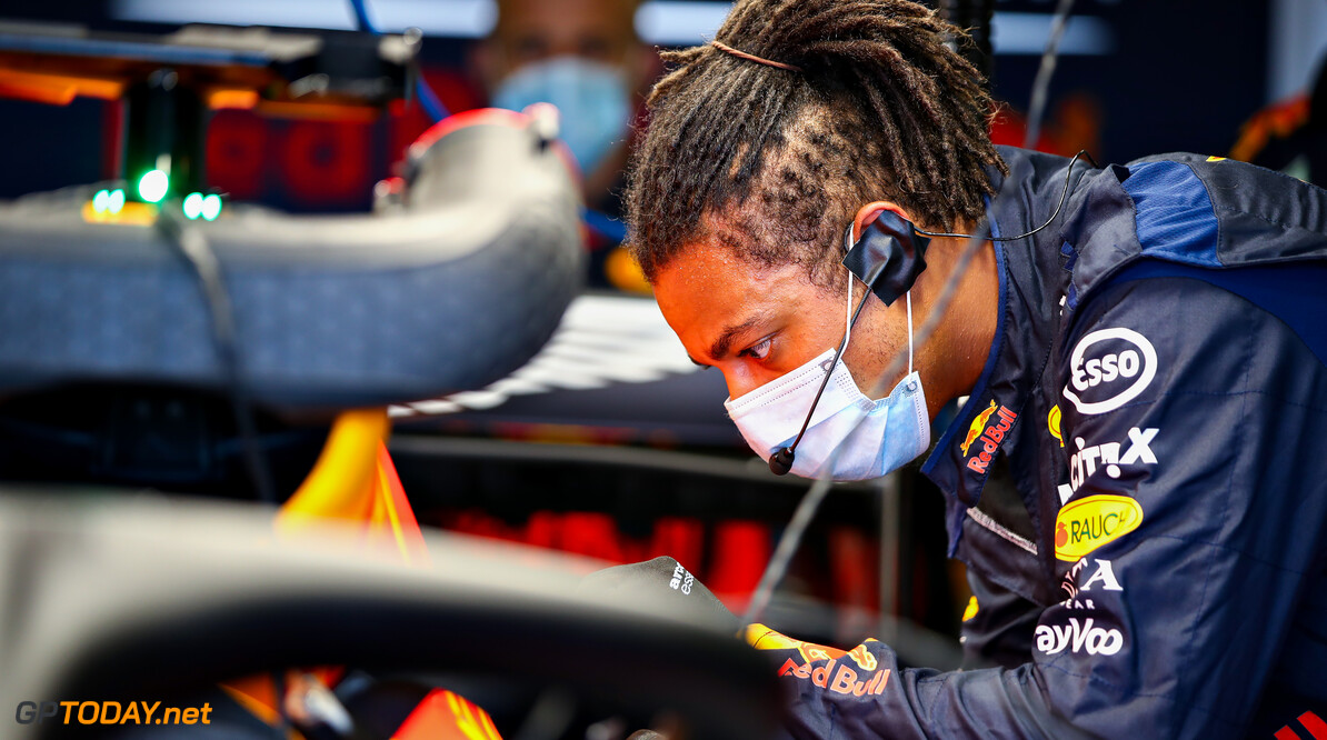 NORTHAMPTON, ENGLAND - JUNE 25: A Red Bull Racing team member works in the garage during the Red Bull Racing RB16 Filming Day at Silverstone Circuit on June 25, 2020 in Northampton, England. (Photo by Mark Thompson/Getty Images) // Getty Images / Red Bull Content Pool  // AP-24EED6JA51W11 // Usage for editorial use only //  Red Bull Racing RB16 Filming Day     AP-24EED6JA51W11