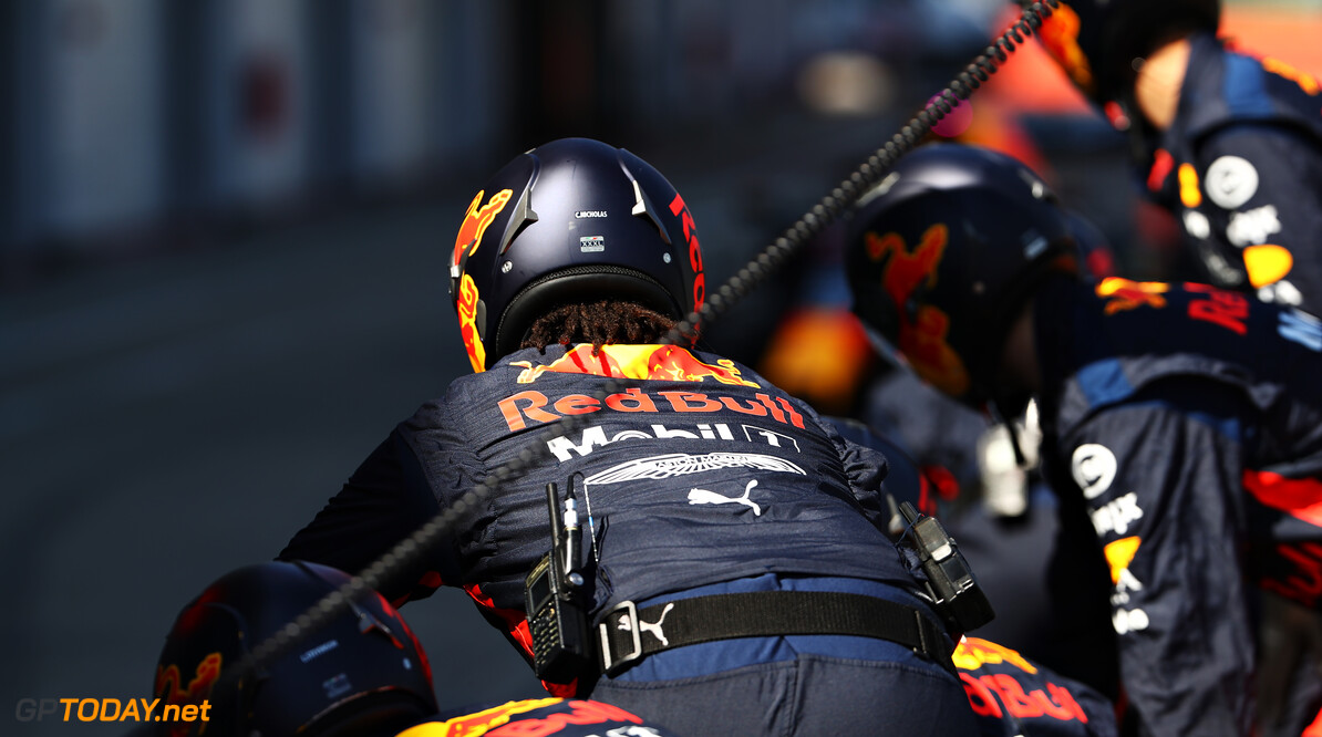 NORTHAMPTON, ENGLAND - JUNE 25: The Red Bull Racing team prepare for a pitstop during the Red Bull Racing RB16 Filming Day at Silverstone Circuit on June 25, 2020 in Northampton, England. (Photo by Mark Thompson/Getty Images) // Getty Images / Red Bull Content Pool  // AP-24EED67E12111 // Usage for editorial use only //  Red Bull Racing RB16 Filming Day     AP-24EED67E12111
