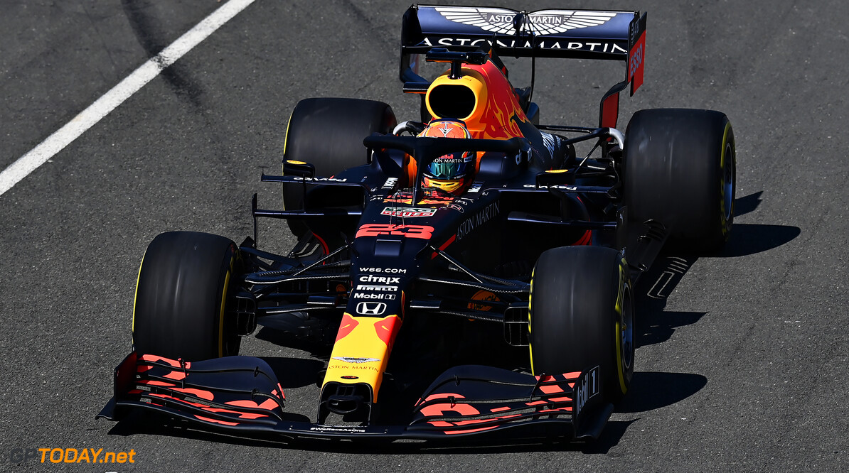 NORTHAMPTON, ENGLAND - JUNE 25: Alexander Albon of Thailand driving the (23) Aston Martin Red Bull Racing RB16 in the Pitlane during the Red Bull Racing RB16 Filming Day at Silverstone Circuit on June 25, 2020 in Northampton, England. (Photo by Clive Mason/Getty Images) // Getty Images / Red Bull Content Pool  // AP-24EEHSYJN1W11 // Usage for editorial use only //  Red Bull Racing RB16 Filming Day     AP-24EEHSYJN1W11
