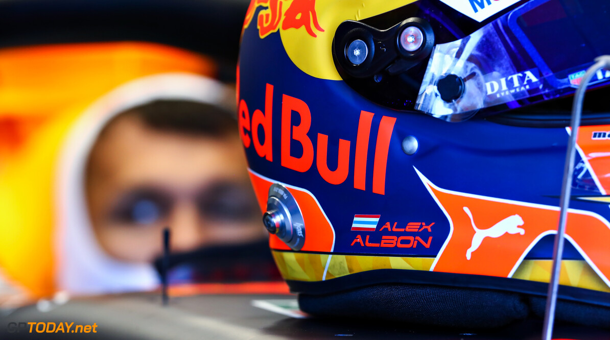 NORTHAMPTON, ENGLAND - JUNE 25: The helmet of Alexander Albon of Thailand and Red Bull Racing is pictured on his car in the garage during the Red Bull Racing RB16 Filming Day at Silverstone Circuit on June 25, 2020 in Northampton, England. (Photo by Mark Thompson/Getty Images) // Getty Images / Red Bull Content Pool  // AP-24EFKHSDS2111 // Usage for editorial use only //  Red Bull Racing RB16 Filming Day     AP-24EFKHSDS2111
