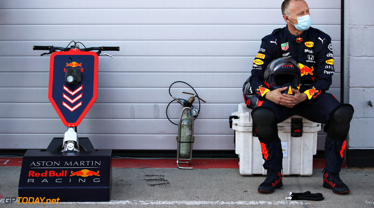 NORTHAMPTON, ENGLAND - JUNE 25: A Red Bull Racing team member looks on in the Pitlane during the Red Bull Racing RB16 Filming Day at Silverstone Circuit on June 25, 2020 in Northampton, England. (Photo by Mark Thompson/Getty Images) // Getty Images / Red Bull Content Pool  // AP-24EED38TN1W11 // Usage for editorial use only //  Red Bull Racing RB16 Filming Day     AP-24EED38TN1W11