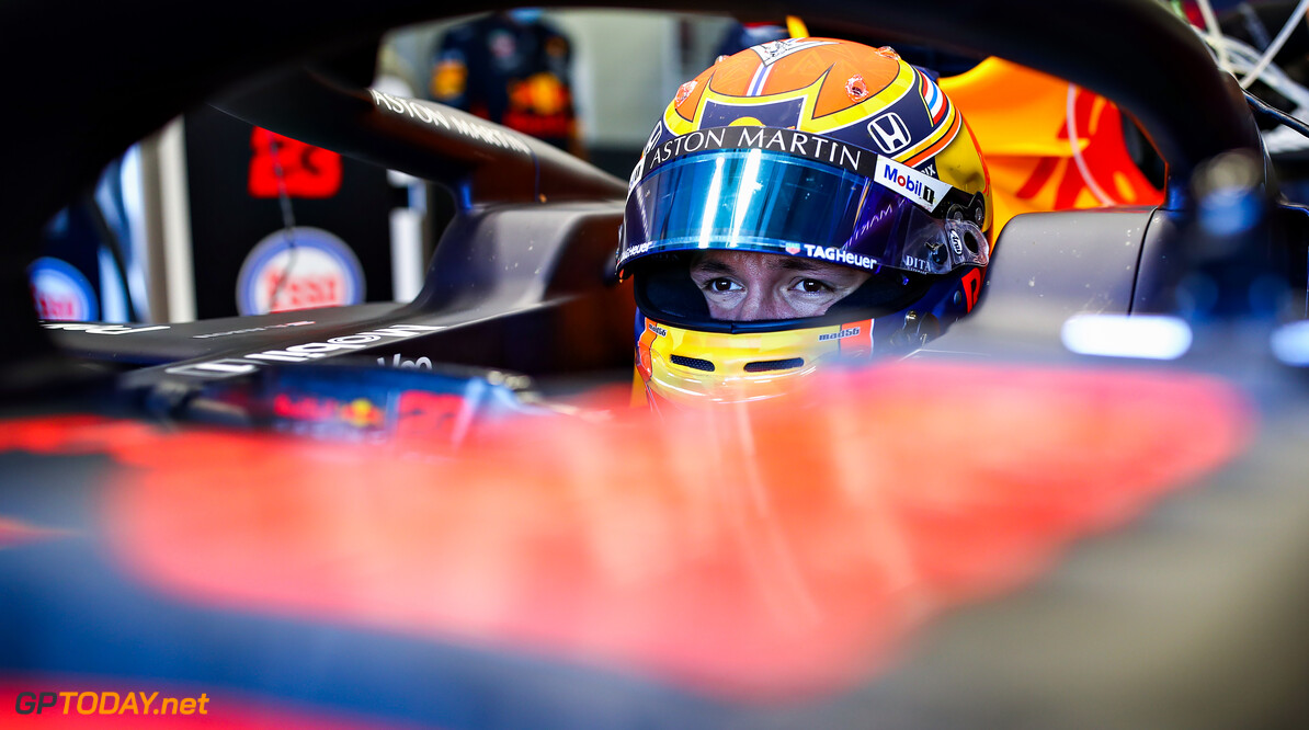 NORTHAMPTON, ENGLAND - JUNE 25: Alexander Albon of Thailand and Red Bull Racing prepares to drive in the garage during the Red Bull Racing RB16 Filming Day at Silverstone Circuit on June 25, 2020 in Northampton, England. (Photo by Mark Thompson/Getty Images) // Getty Images / Red Bull Content Pool  // AP-24EFKCC6H2111 // Usage for editorial use only //  Red Bull Racing RB16 Filming Day     AP-24EFKCC6H2111