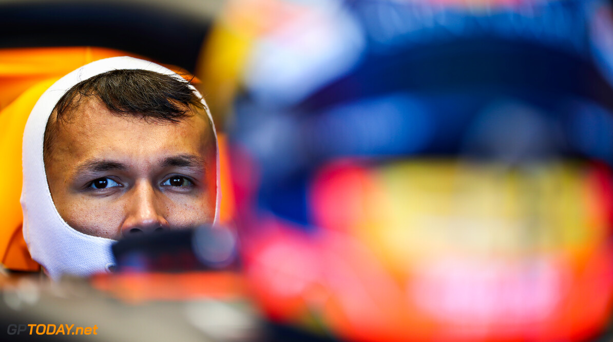 NORTHAMPTON, ENGLAND - JUNE 25: Alexander Albon of Thailand and Red Bull Racing prepares to drive in the garage during the Red Bull Racing RB16 Filming Day at Silverstone Circuit on June 25, 2020 in Northampton, England. (Photo by Mark Thompson/Getty Images) // Getty Images / Red Bull Content Pool  // AP-24EFKFE5S2111 // Usage for editorial use only //  Red Bull Racing RB16 Filming Day     AP-24EFKFE5S2111