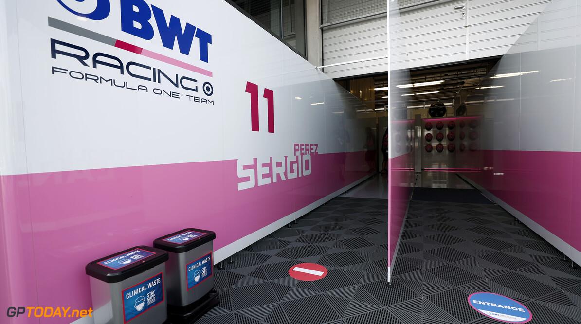 Racing Point entrance to the garage  Glenn Dunbar Spielberg Austria  setup garage