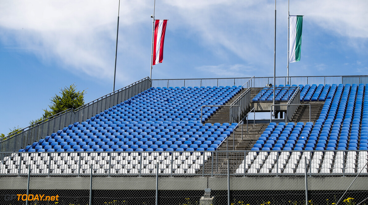 The empty grandstands during the Formula 1 Rolex Grosser Preis von Osterreich 2020, Austrian Grand Prix from July 02 to 05, 2020 on the Red Bull Ring, in Spielberg, Austria - Photo Florent Gooden / DPPI F1 - AUSTRIAN GRAND PRIX 2020  Florent Gooden Spielberg Austria  2020 AUTRICHE Austria FORMULA 1 FORMULE 1 FORMULE UN GRAND PRIX MARS MOTOR RACING Motorsport Red Bull Ring Spielberg europe f1
