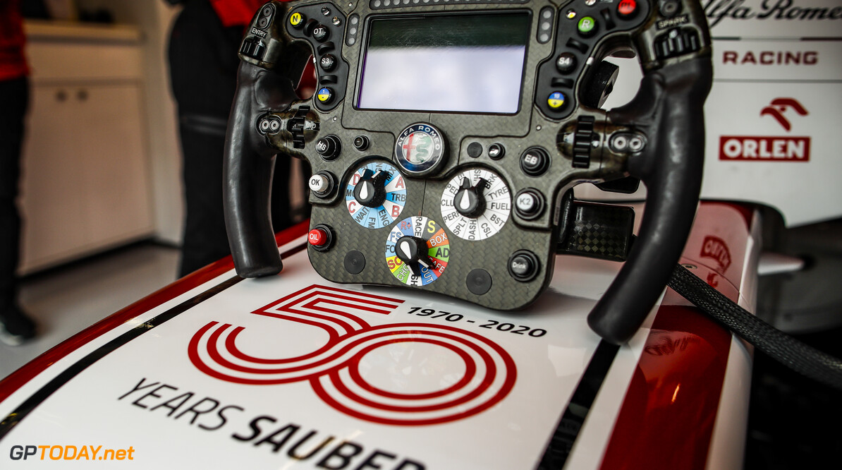Alfa Romeo Racing ORLEN C39, mechanical detail of the steering wheel and Sauber anniversary during the Formula 1 Rolex Grosser Preis von Osterreich 2020, Austrian Grand Prix from July 02 to 05, 2020 on the Red Bull Ring, in Spielberg, Austria - Photo Florent Gooden / DPPI F1 - AUSTRIAN GRAND PRIX 2020