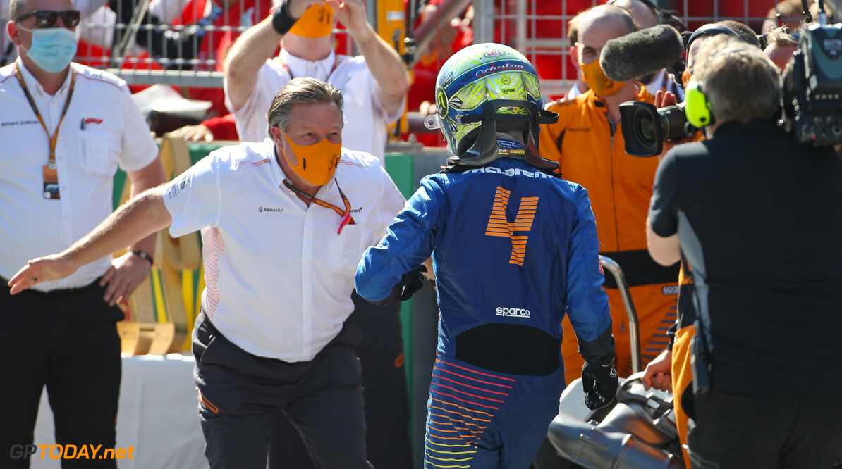 Formula One World Championship Zak Brown (USA), McLaren F1 Team Executive Director and Lando Norris (GBR), McLaren F1 Team  05.07.2020. Formula 1 World Championship, Rd 1, Austrian Grand Prix, Spielberg, Austria, Race Day. - www.xpbimages.com, EMail: requests@xpbimages.com (C) Copyright: Charniaux / XPB Images Motor Racing - Formula One World Championship - Austrian Grand Prix - Race Day - Spielberg, Austria xpbimages.com Spielberg Austria  Formel1 Formel F1 Formula 1 Formula1 GP Grand Prix one Circuit Austria Austrian Spielberg Zeltweg Sunday 05 5 07 7 2020 July Podium Portrait
