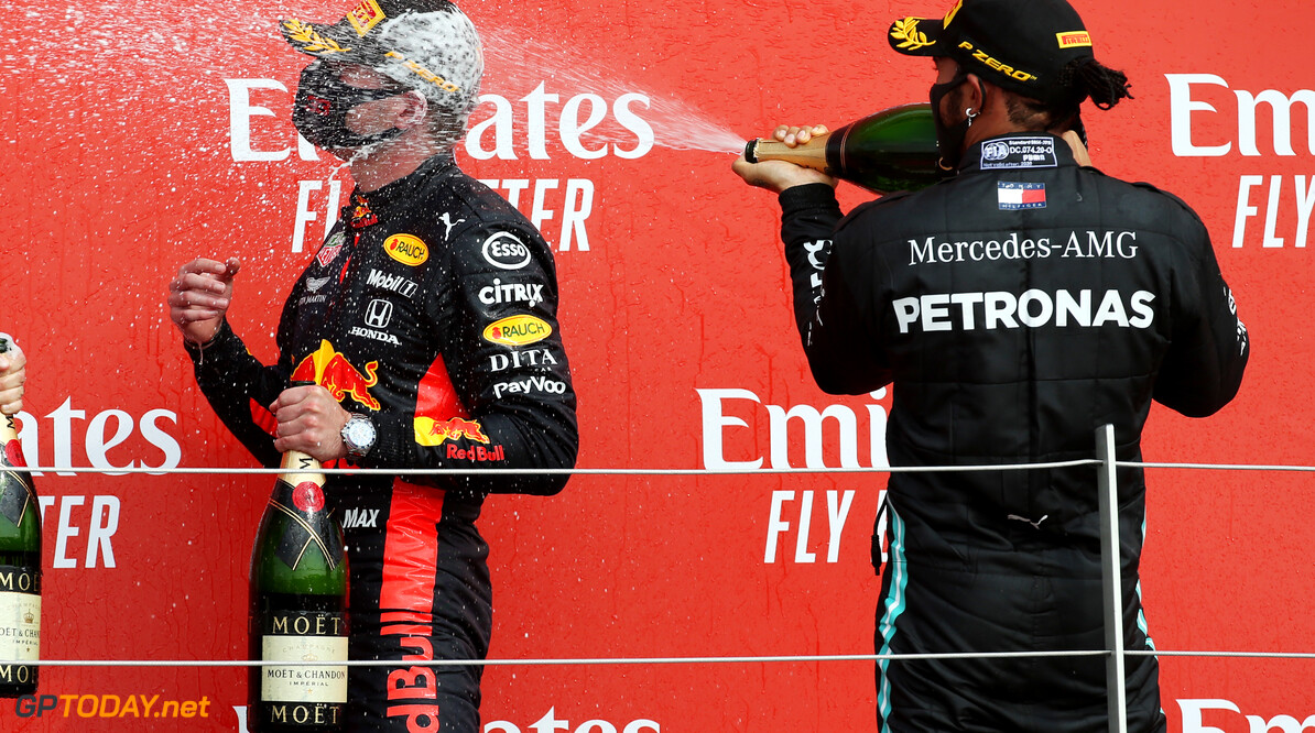 Formula One World Championship 1st place Max Verstappen (NLD) Red Bull Racing RB16 and Lewis Hamilton (GBR) Mercedes AMG F1 W11. 