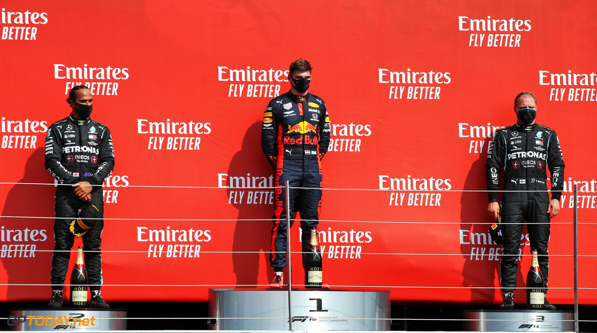 Formula One World Championship The podium (L to R): Lewis Hamilton (GBR) Mercedes AMG F1, second; Max Verstappen (NLD) Red Bull Racing, race winner; Valtteri Bottas (FIN) Mercedes AMG F1, third.