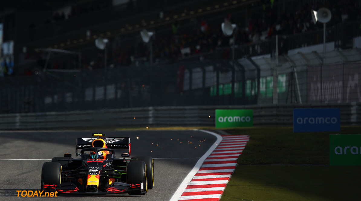 NUERBURG, GERMANY - OCTOBER 10: Alexander Albon of Thailand driving the (23) Aston Martin Red Bull Racing RB16 on track during final practice ahead of the F1 Eifel Grand Prix at Nuerburgring on October 10, 2020 in Nuerburg, Germany. (Photo by Joe Portlock/Getty Images) // Getty Images / Red Bull Content Pool  // SI202010100063 // Usage for editorial use only //  F1 Eifel Grand Prix - Final Practice     SI202010100063