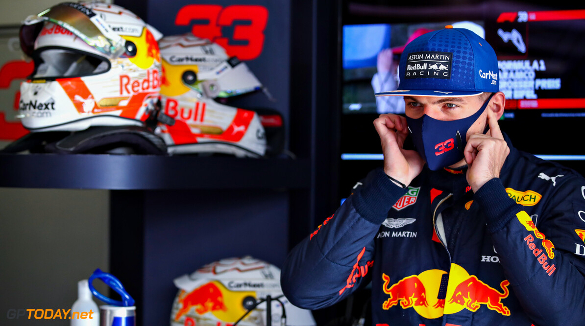 NUERBURG, GERMANY - OCTOBER 10: Max Verstappen of Netherlands and Red Bull Racing prepares to drive in the garage before final practice ahead of the F1 Eifel Grand Prix at Nuerburgring on October 10, 2020 in Nuerburg, Germany. (Photo by Mark Thompson/Getty Images) // Getty Images / Red Bull Content Pool  // SI202010100021 // Usage for editorial use only //  F1 Eifel Grand Prix - Final Practice     SI202010100021