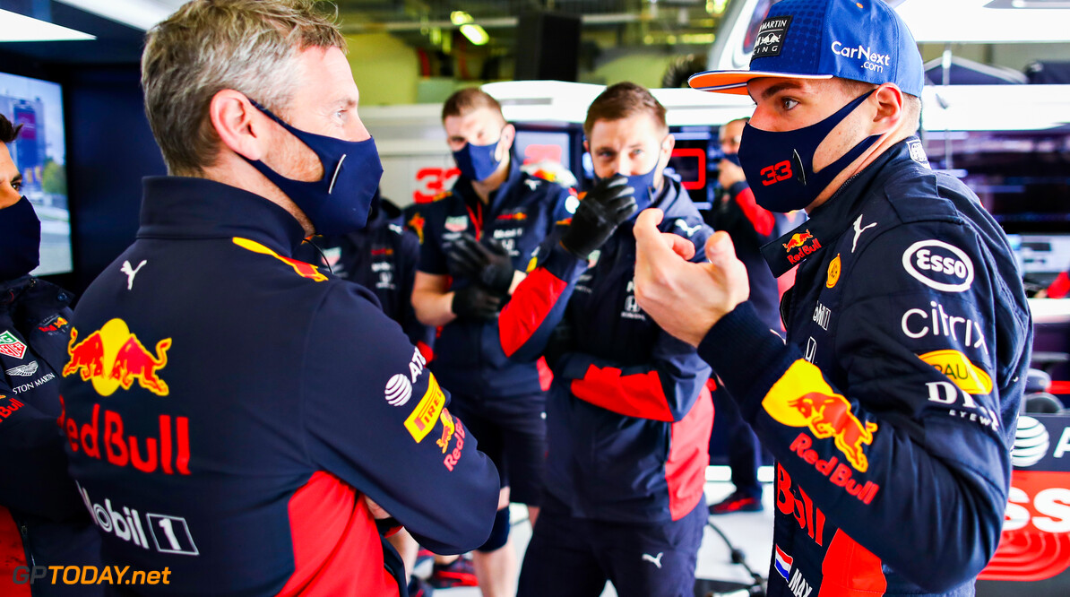 NUERBURG, GERMANY - OCTOBER 10: Max Verstappen of Netherlands and Red Bull Racing talks with a member of the Red Bull Racing team in the garage during final practice ahead of the F1 Eifel Grand Prix at Nuerburgring on October 10, 2020 in Nuerburg, Germany. (Photo by Mark Thompson/Getty Images) // Getty Images / Red Bull Content Pool  // SI202010100041 // Usage for editorial use only //  F1 Eifel Grand Prix - Final Practice     SI202010100041
