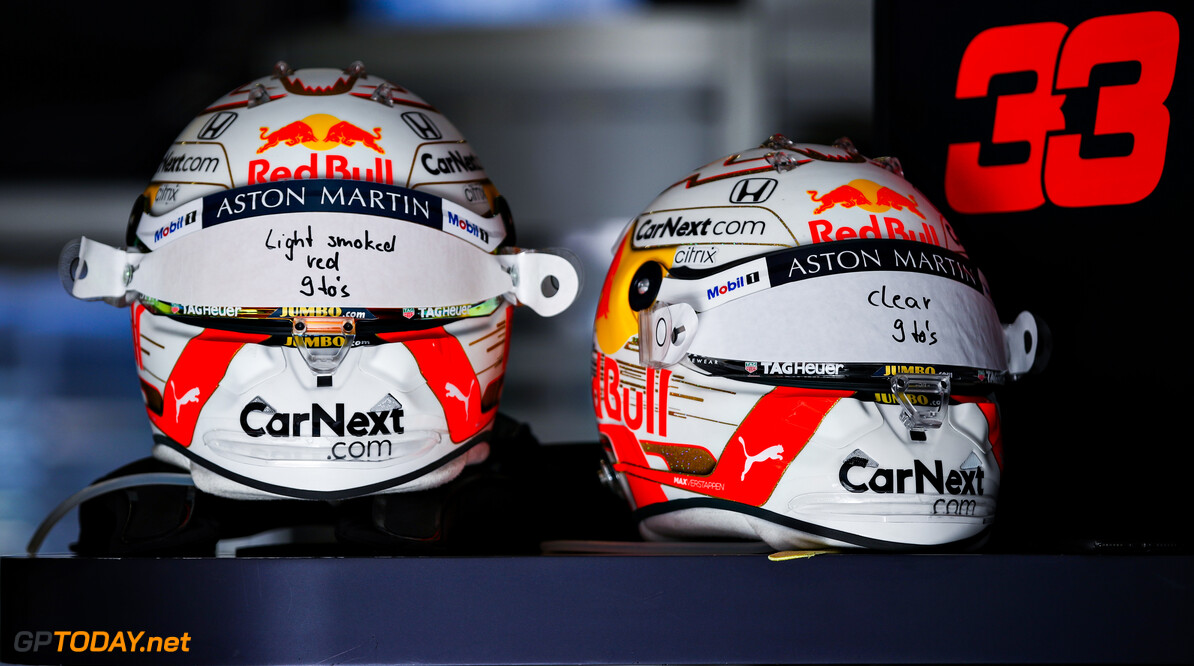 NUERBURG, GERMANY - OCTOBER 11: Helmets of Max Verstappen of Netherlands and Red Bull Racing are pictured in the garage before the F1 Eifel Grand Prix at Nuerburgring on October 11, 2020 in Nuerburg, Germany. (Photo by Mark Thompson/Getty Images) // Getty Images / Red Bull Content Pool  // SI202010110106 // Usage for editorial use only //  F1 Eifel Grand Prix     SI202010110106