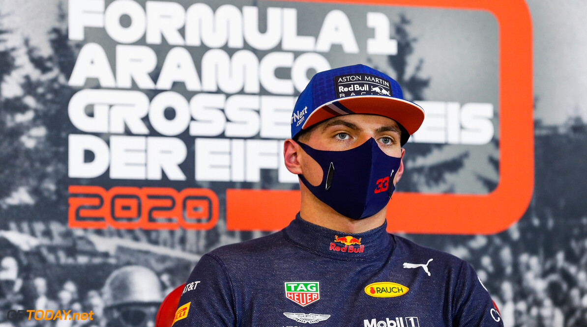 NUERBURG, GERMANY - OCTOBER 10: Third place qualifier Max Verstappen of Netherlands and Red Bull Racing talk in a press conference after qualifying ahead of the F1 Eifel Grand Prix at Nuerburgring on October 10, 2020 in Nuerburg, Germany. (Photo by Antonin Vincent - Pool/Getty Images) // Getty Images / Red Bull Content Pool  // SI202010100424 // Usage for editorial use only //  F1 Eifel Grand Prix - Qualifying     SI202010100424