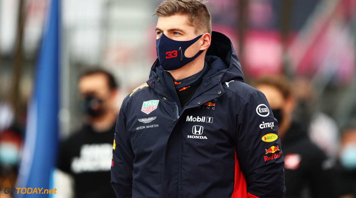 NUERBURG, GERMANY - OCTOBER 11: Max Verstappen of Netherlands and Red Bull Racing looks on as he stands on the grid prior to the F1 Eifel Grand Prix at Nuerburgring on October 11, 2020 in Nuerburg, Germany. (Photo by Bryn Lennon/Getty Images) // Getty Images / Red Bull Content Pool  // SI202010110150 // Usage for editorial use only //  F1 Eifel Grand Prix     SI202010110150