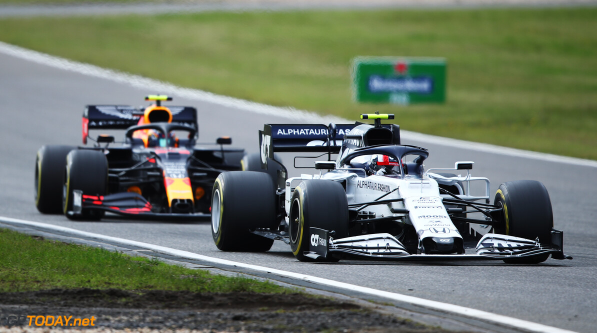 NUERBURG, GERMANY - OCTOBER 11: Pierre Gasly of France driving the (10) Scuderia AlphaTauri AT01 Honda leads Alexander Albon of Thailand driving the (23) Aston Martin Red Bull Racing RB16 on track during the F1 Eifel Grand Prix at Nuerburgring on October 11, 2020 in Nuerburg, Germany. (Photo by Joe Portlock/Getty Images) // Getty Images / Red Bull Content Pool  // SI202010110224 // Usage for editorial use only //  F1 Eifel Grand Prix     SI202010110224