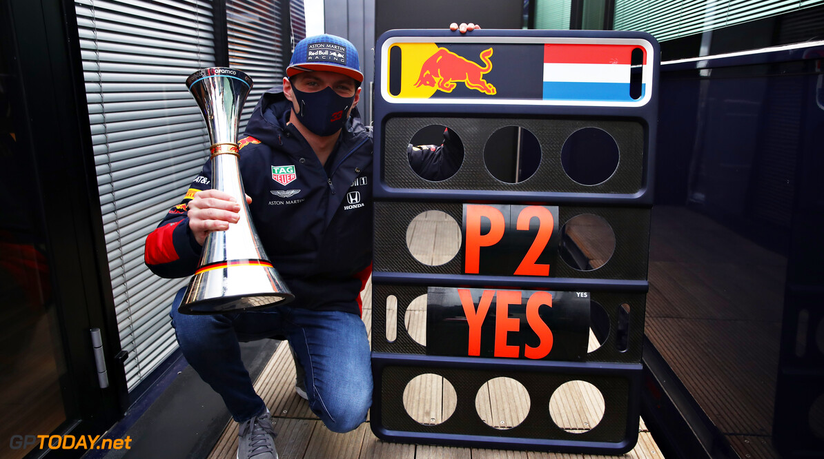 NUERBURG, GERMANY - OCTOBER 11: Second placed Max Verstappen of Netherlands and Red Bull Racing celebrates after the F1 Eifel Grand Prix at Nuerburgring on October 11, 2020 in Nuerburg, Germany. (Photo by Mark Thompson/Getty Images) // Getty Images / Red Bull Content Pool  // SI202010110479 // Usage for editorial use only //  F1 Eifel Grand Prix     SI202010110479