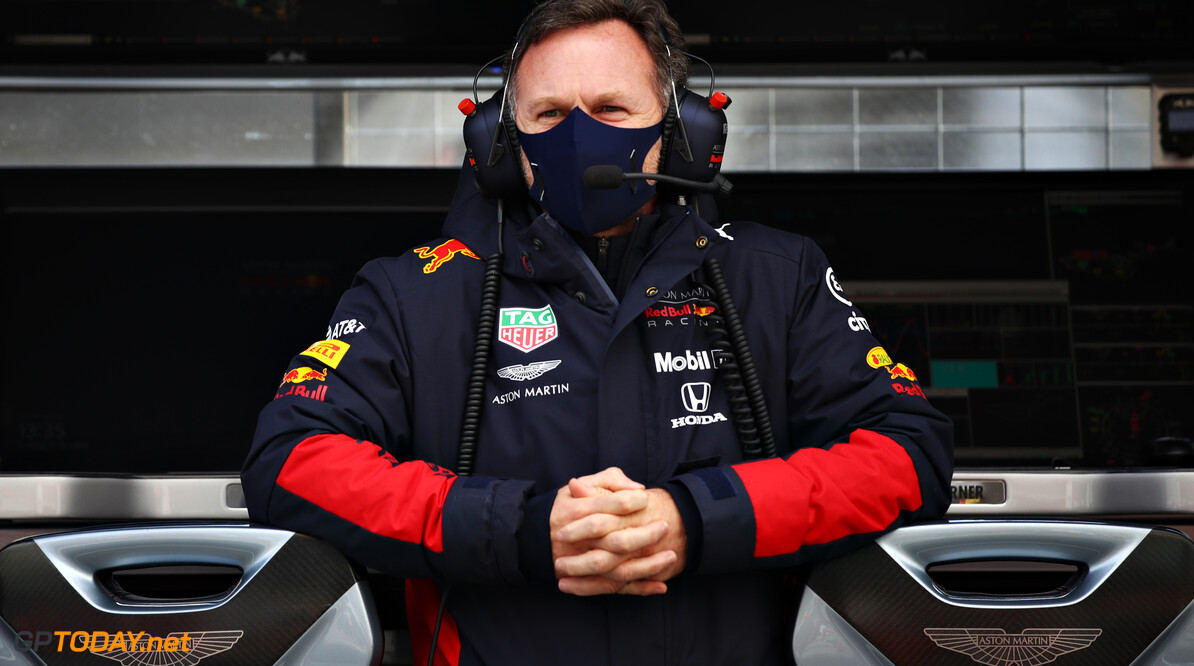 NUERBURG, GERMANY - OCTOBER 11: Red Bull Racing Team Principal Christian Horner looks on from the pitwall before the F1 Eifel Grand Prix at Nuerburgring on October 11, 2020 in Nuerburg, Germany. (Photo by Mark Thompson/Getty Images) // Getty Images / Red Bull Content Pool  // SI202010110144 // Usage for editorial use only //  F1 Eifel Grand Prix     SI202010110144