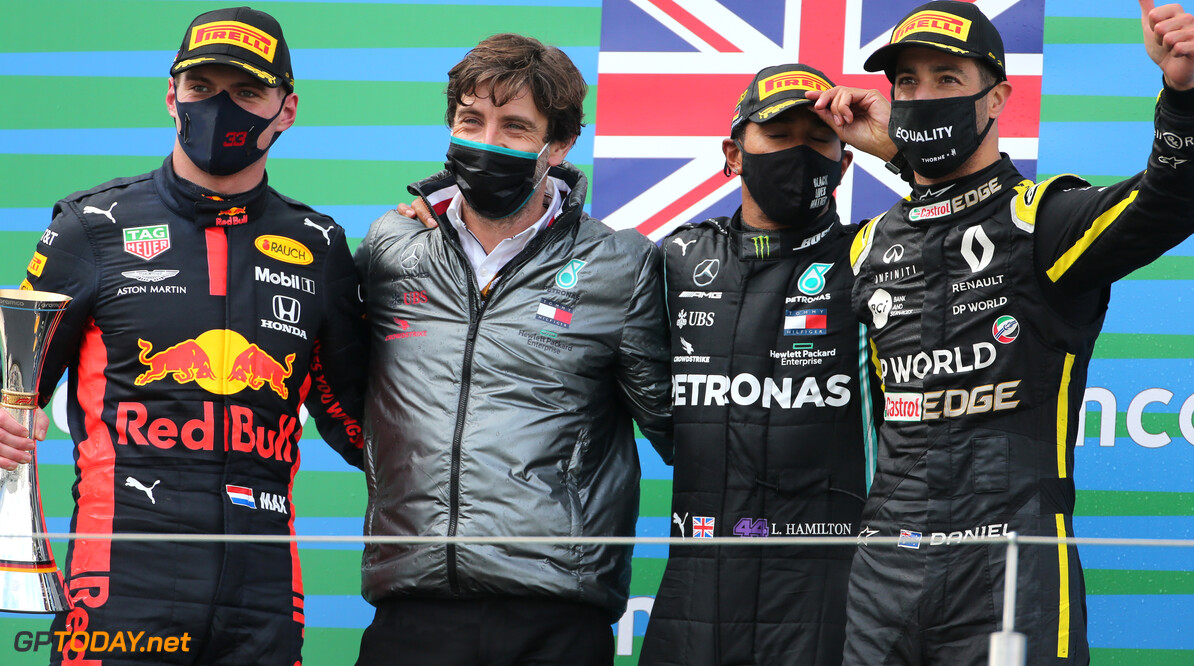 Formula One World Championship Max Verstappen (NLD), Red Bull Racing, Lewis Hamilton (GBR), Mercedes AMG F1  and Daniel Ricciardo (AUS), Renault F1 Team  11.10.2020. Formula 1 World Championship, Rd 11, Eifel Grand Prix, Nurbugring, Germany, Race Day. - www.xpbimages.com, EMail: requests@xpbimages.com (C) Copyright: Charniaux / XPB Images Motor Racing - Formula One World Championship - Eifel Grand Prix - Race Day - Nurbugring, Germany XPB Images Nurburg Germany  Formel1 Formel F1 Formula 1 Formula1 GP Grand Prix one Germany Eifel Nurburg Nurbugring Nuerburgring N?rburgring German Sunday October 11 10 2020 Podium Portrait