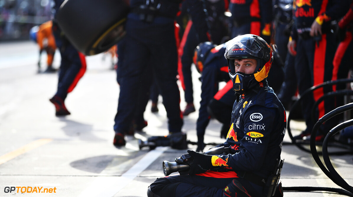 NUERBURG, GERMANY - OCTOBER 11: A member of the Red Bull Racing pit crew looks on from the pitlane during the F1 Eifel Grand Prix at Nuerburgring on October 11, 2020 in Nuerburg, Germany. (Photo by Mark Thompson/Getty Images) // Getty Images / Red Bull Content Pool  // SI202010110365 // Usage for editorial use only //  F1 Eifel Grand Prix     SI202010110365