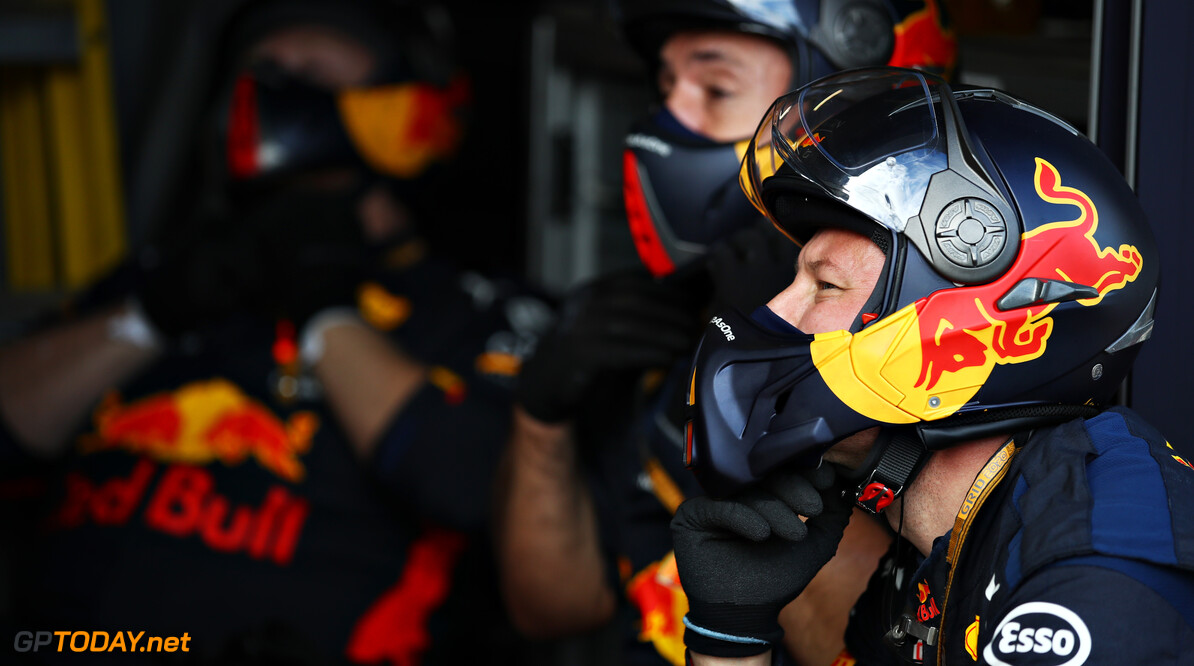 NUERBURG, GERMANY - OCTOBER 11: Red Bull Racing team members look on during the F1 Eifel Grand Prix at Nuerburgring on October 11, 2020 in Nuerburg, Germany. (Photo by Mark Thompson/Getty Images) // Getty Images / Red Bull Content Pool  // SI202010110450 // Usage for editorial use only //  F1 Eifel Grand Prix     SI202010110450