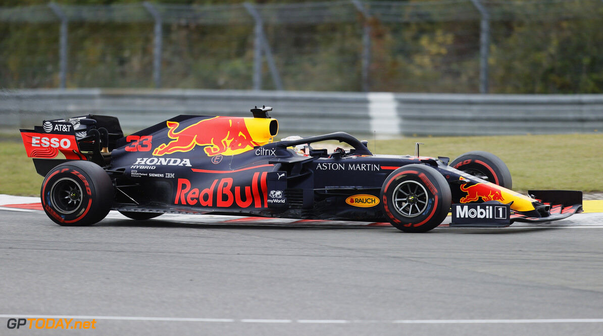 NUERBURG, GERMANY - OCTOBER 11: Max Verstappen of the Netherlands driving the (33) Aston Martin Red Bull Racing RB16 on track during the F1 Eifel Grand Prix at Nuerburgring on October 11, 2020 in Nuerburg, Germany. (Photo by Ronald Wittek - Pool/Getty Images) // Getty Images / Red Bull Content Pool  // SI202010110547 // Usage for editorial use only //  F1 Eifel Grand Prix     SI202010110547