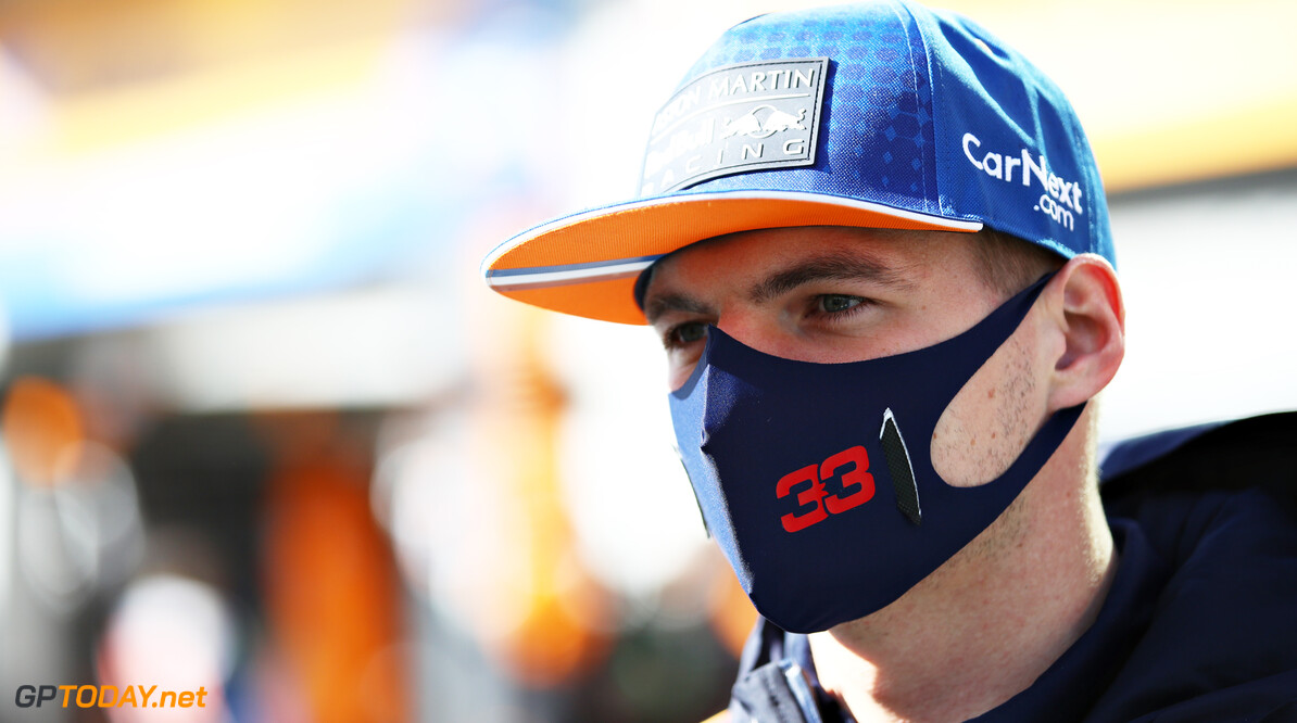 NUERBURG, GERMANY - OCTOBER 11: Max Verstappen of Netherlands and Red Bull Racing talks to the media in the Pitlane before the F1 Eifel Grand Prix at Nuerburgring on October 11, 2020 in Nuerburg, Germany. (Photo by Mark Thompson/Getty Images) // Getty Images / Red Bull Content Pool  // SI202010110122 // Usage for editorial use only //  F1 Eifel Grand Prix     SI202010110122