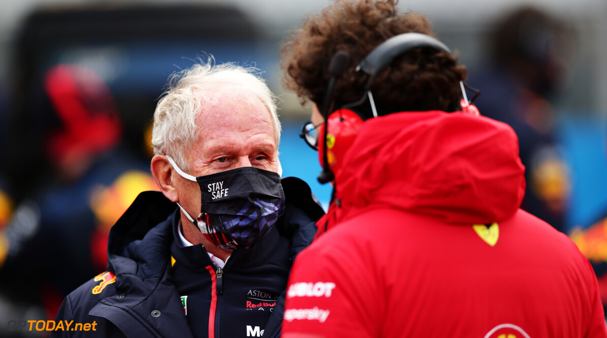 NUERBURG, GERMANY - OCTOBER 11: Red Bull Racing Team Consultant Dr Helmut Marko and Scuderia Ferrari Team Principal Mattia Binotto talk on the grid before the F1 Eifel Grand Prix at Nuerburgring on October 11, 2020 in Nuerburg, Germany. (Photo by Peter Fox/Getty Images) // Getty Images / Red Bull Content Pool  // SI202010110327 // Usage for editorial use only //  F1 Eifel Grand Prix     SI202010110327