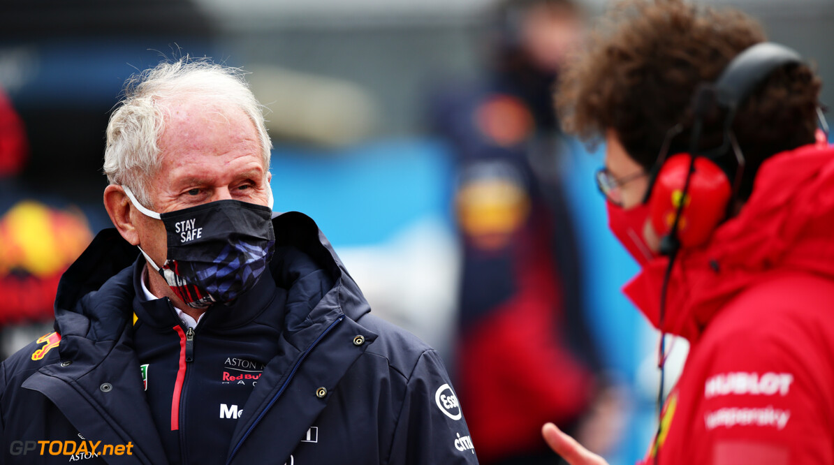 NUERBURG, GERMANY - OCTOBER 11: Red Bull Racing Team Consultant Dr Helmut Marko and Scuderia Ferrari Team Principal Mattia Binotto talk on the grid before the F1 Eifel Grand Prix at Nuerburgring on October 11, 2020 in Nuerburg, Germany. (Photo by Peter Fox/Getty Images) // Getty Images / Red Bull Content Pool  // SI202010110333 // Usage for editorial use only //  F1 Eifel Grand Prix     SI202010110333